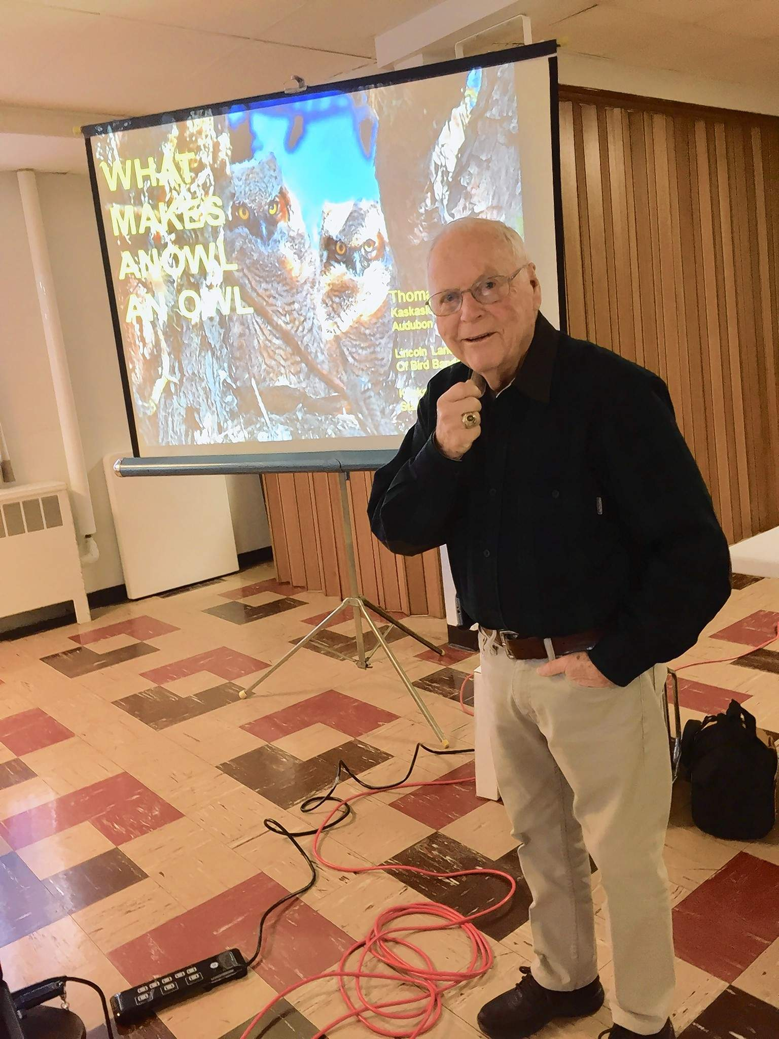 """Thomas May of the Kaskaskia Valley Audubon Society gives a presentation on """"What Makes An Owl An Owl."""""""