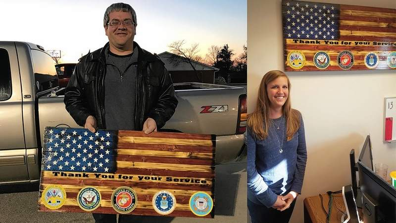 Pictured are Jason Michael of EJ Woodwork and Kacie Hunter, financial aid specialist and veterans coordinator at RLC.