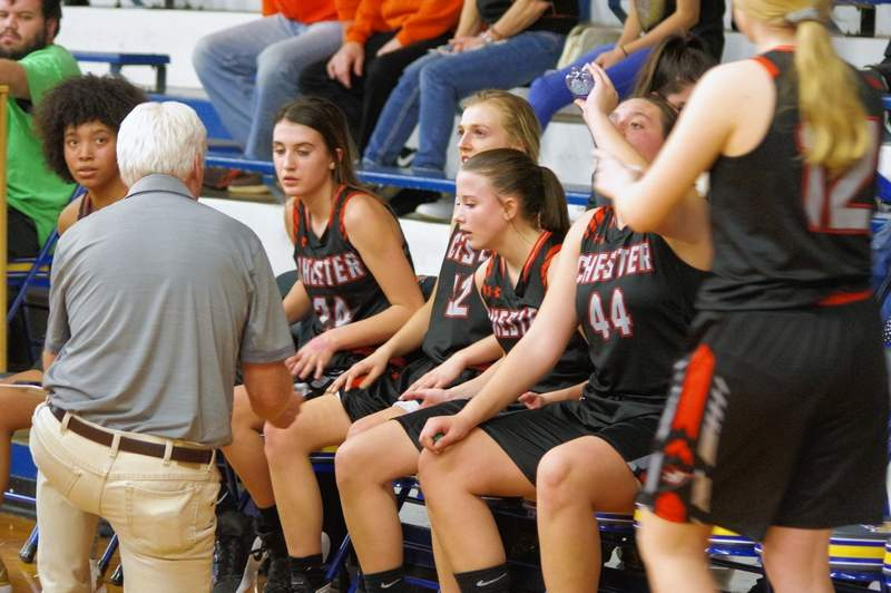 Chester Head Coach Pat Knowles calls a time out with 3:48 remaining in the game. On the bench, from left, are Destiny Williams, Reese Chandler, Josie Kattenbraker, Kendall Williams and Alyssa Seymour.