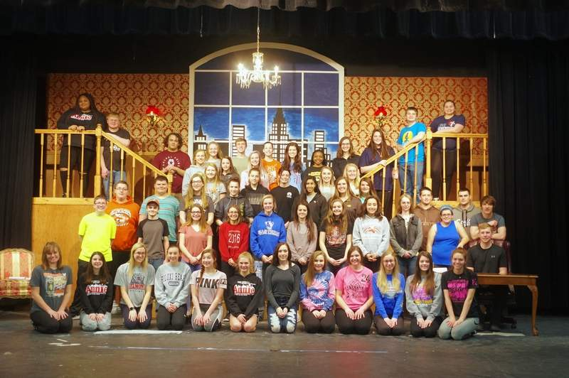 """The cast of the upcoming Chester High School production of """"Annie"""" takes time out from a Saturday morning rehearsal on the Juergen's Gymnasium stage. The show runs March 14-17 and tickets are now on sale in the CHS office.Tickets are $8; with $5 for students. For information, call Brenda Coop, theater director, at (618) 826-2302."""