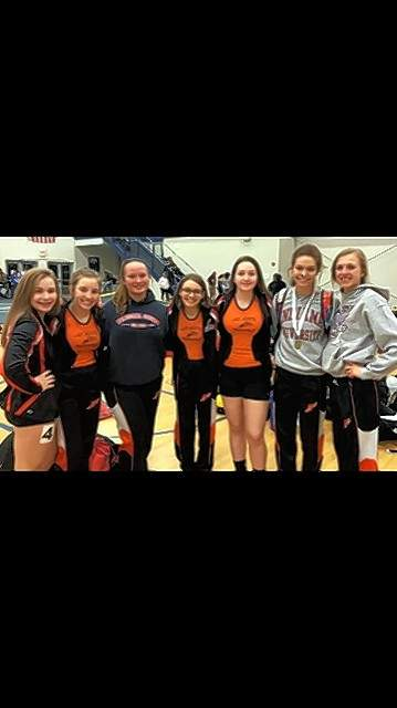 Seven of the eight Lady Jackets who competed in Marion, from left, Alex Hennrich, Hannah Blechle, Samantha Eggemeyer, Taylor Hennrich, Avery Miers, Lauren Soellner and Josie Kattenbraker. Not pictured: Avery Runge.