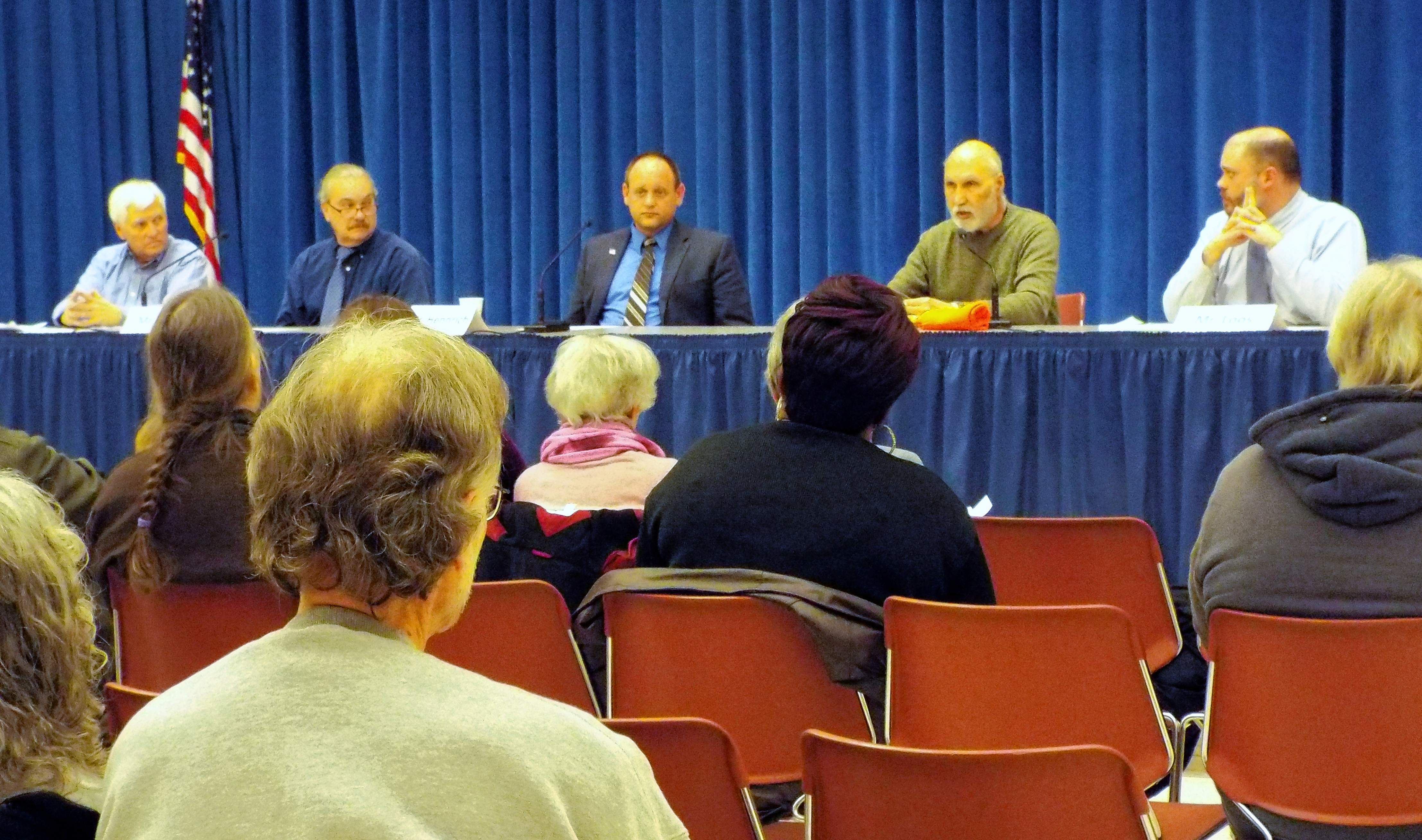 Carbondale City Council candidates (from left) Lee Fronabarger, Jerrold Hennrich, Tom Grant, Navreet Kang and Adam Loos answer questions at the Women for Change community forum Thursday, Feb. 28 at the Carbondale Civic Center.