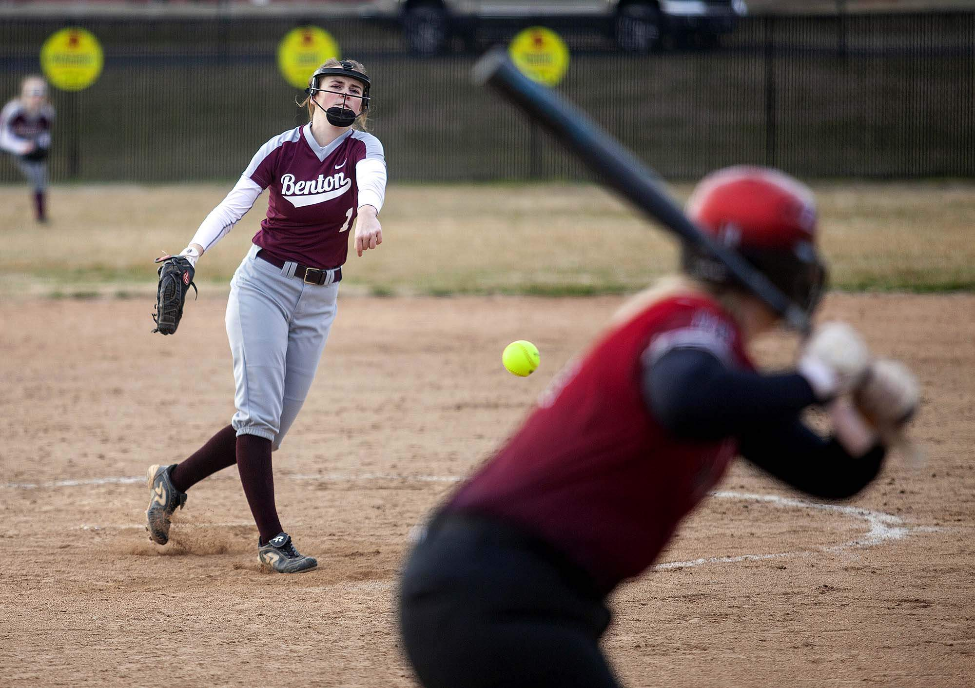 Benton pitcher Kiley Carter throws to a Du Quoin batter in Monday's season opener at Du Quoin High School.