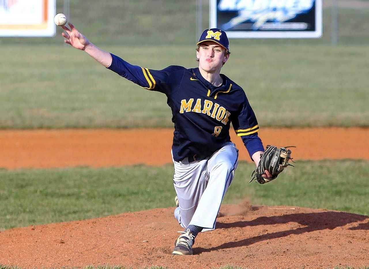 MHS junior righthander Cavan Cameron throws a pitch in game action Thursday against Murphysboro.