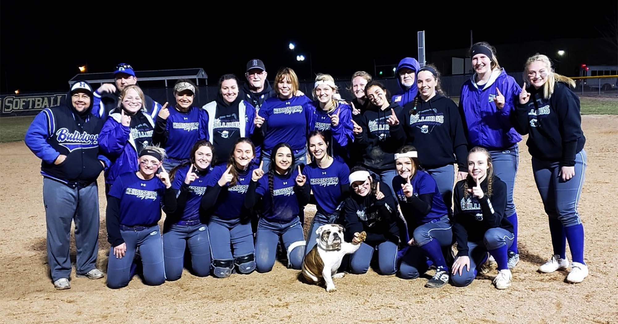 The Harrisburg High School girls' softball team pose after winning the Fairfield Spring Swing over the weekend.