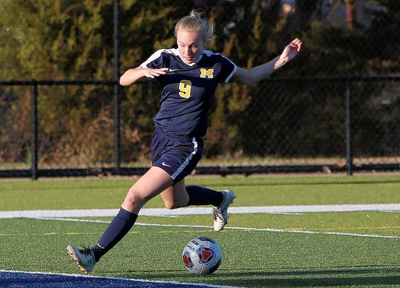 Marion freshman Margaux Bruce scores her first goal.