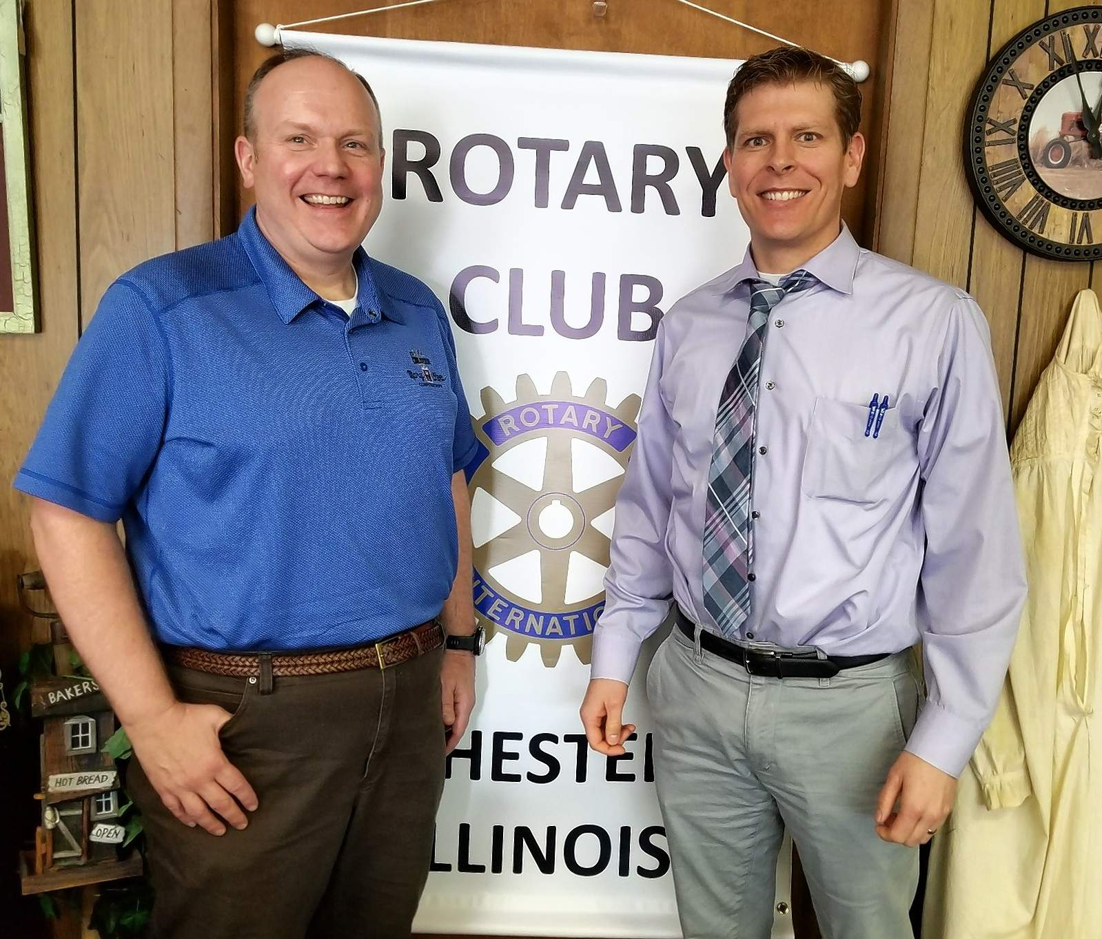 Tom Welge, left, was the guest speaker March 13 at the Chester Rotary Club. He is pictured with Rotary President Jeremy Walker.