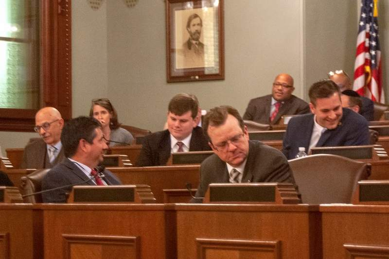 State Rep. Larry Walsh (foreground), an Elwood Democrat, is pictured in the House Energy and Environment Committee meeting Tuesday in Springfield. Walsh is the sponsor of a bill that would reform the state's energy capacity procurement procedures in northern Illinois.