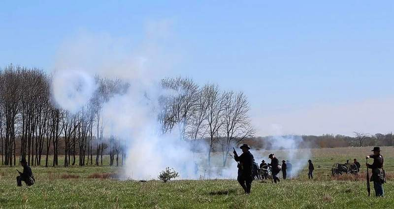 A Union cannon blasts a smoke ring during Friday's battle at Pyramid State Park.