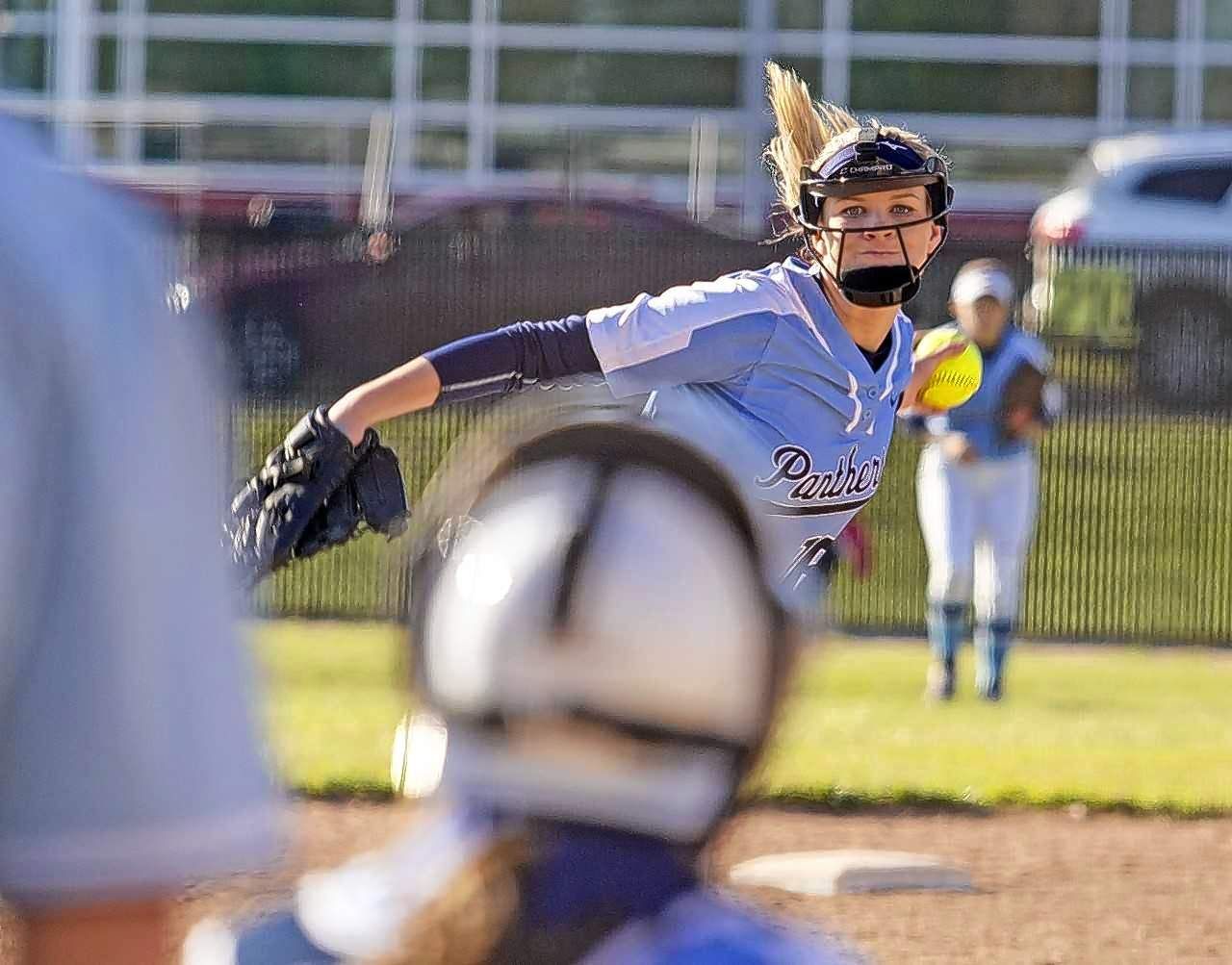 Lady Panthers pitcher Taylor Witges winds up against Du Quoin on Monday.