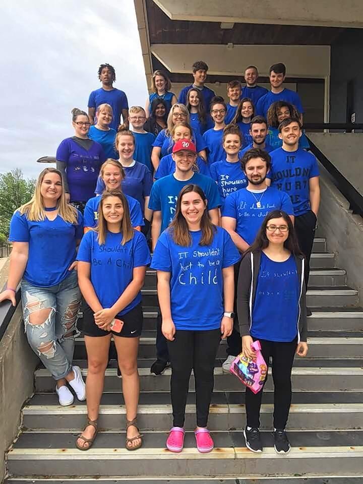 The students pictured put on their custom blue T-shirts to bring awareness to Child Abuse Prevention Month. They are, in alphabetical order, Javier Barocio (Mt. Vernon), Noah Brown (Ina), Zoe Brown (Sesser), Mitchell Bulla (Sesser), Rebekah Cramer (Opdyke),  Alexandra Dahm (Ina), Steffanie Geuvens (Mt. Vernon), Brant Glidewell (Ina), Danyelle Hess (Thompsonville), Shelby Hewlett (Mulkeytown), Christina Hodge (Mt. Vernon), Jenna Jones (Sesser), Melanie Kelcher (Benton), Meagan Kralj (Santa Claus, Ind.), Ryan Luckett  (Louisville,  Ky.), Alexa Macy (Ina), Bethany Meadows (Herrin), Juwan Moore (Ina), Trevor Nicholson (Ina), Dominique Peterson (Mt. Vernon), Jack Pring (Ina), Brianna Rainwater (Belle Rive), Mallory Rone (Thompsonville), Esther Roy (Pinckneyville), Sera Samadzai  (Mt. Vernon), Breanna Sanders (Woodlawn), Myndi Siebenthal (Mt. Vernon), Mason Smith (Woodlawn), Jade Stallons (Mt. Vernon), Josie Sykes (Makanda), Sara Vaughn (Benton) and Sydney Williams (McLeansboro).