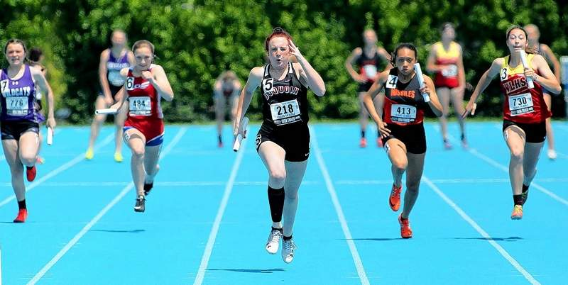 Du Quoin senior Madison Davis finishes the lead leg ahead of the pack, and helps the Indians 4x100 relay team to a first-place finish at Thursday's IHSA Class 1A State Track & Field preliminaries on the campus of Eastern Illinois University in Charleston.