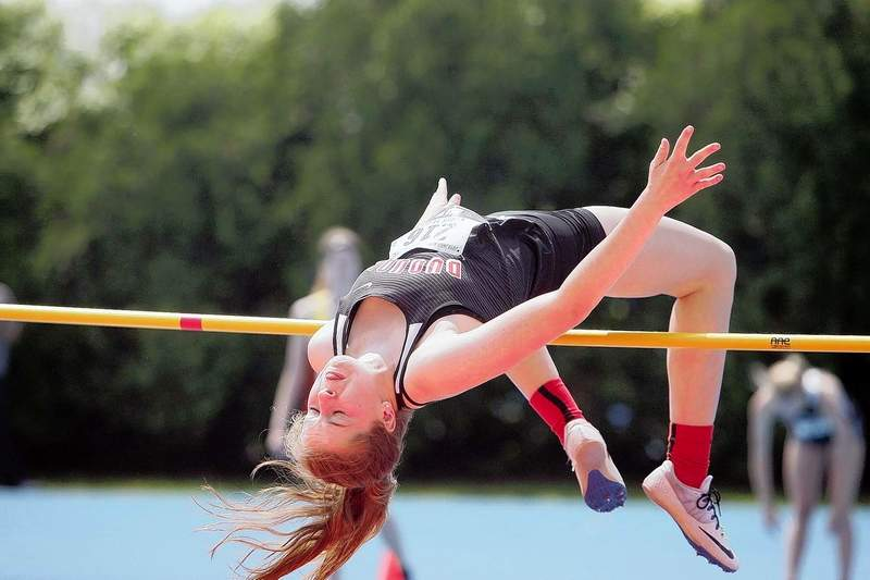 Du Quoin's Elizabeth Bird competes in the high jump during Thursday's IHSA Class 1A State Track & Field preliminaries at Eastern Illinois University in Charleston.