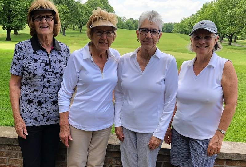 "At the Olive Oyl Golf Tournament held May 28 at the Chester Country Club, these ladies won the ""A"" flight. From left are Karen Heisel, Harriet Drusch, Barb Johnson and Nancy Kohl."