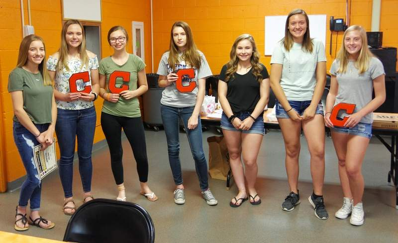 Freshmen Lady Jackets who were recognized are, from left: Hannah Blechle, Madison Kribs, Gracey Roth, Lexus Iverson, Alex Hennrich, Alyssa Seymour, and Cami Schroeder.Not pictured: Ava Lochhead.