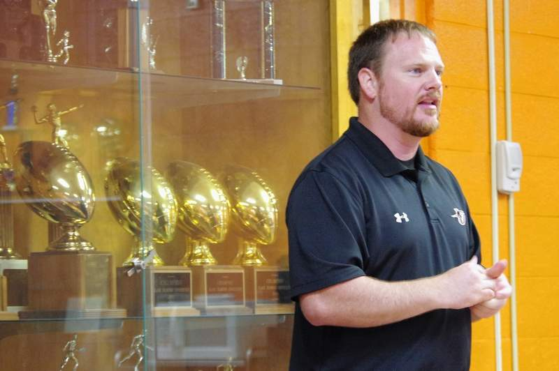 Head Track Coach Ben Hunter was master of ceremonies at the Boys Track and Field Awards Night.