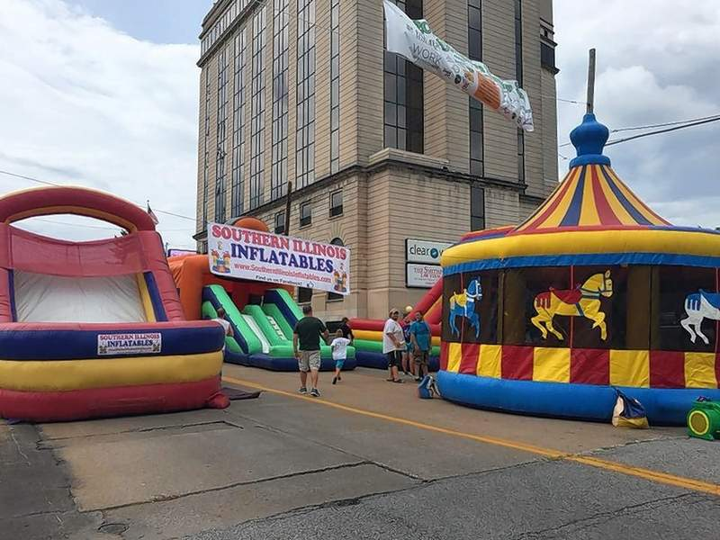 Some of the many inflatables rented by Southern Illinois Inflatables as seen set up on Poplar Street in Harrisburg.