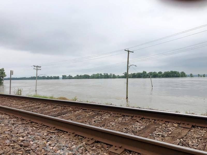 Rising waters on the Mississippi River at Chester have engulfed the truck bypass below the railroad tracks near Ferry Street.