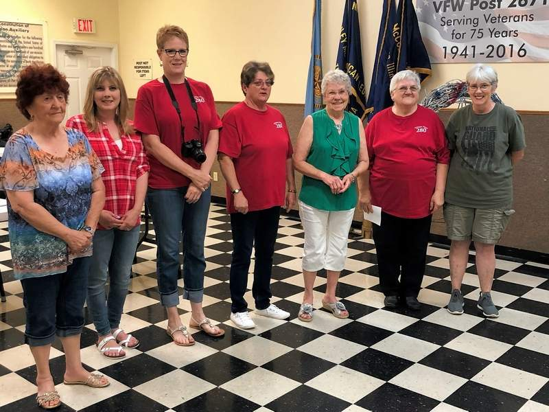 From left, Joyce Atchison, Brittany Lindell, Maureen Sanders, Freda Broadway, Connie Hogan and Jana Hart are sworn in as new officers in the Benton Veterans of Foreign Wars Auxiliary.
