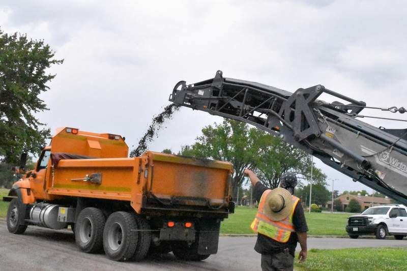 Road improvements totaling just over $350,000 are underway at the Du Quoin State Fairgrounds. Main Street is being resurfaced, as well as the loop.
