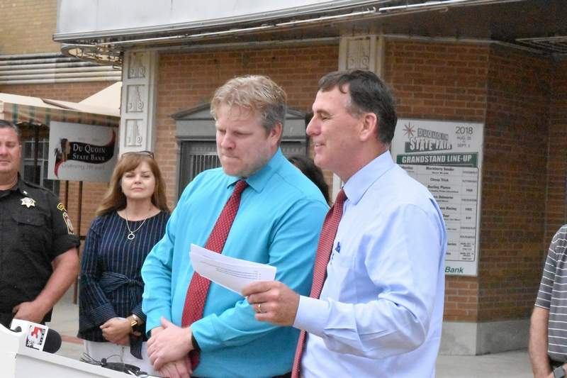 John Sullivan, Director of the Illinois Department of Agriculture (right), introduces new Du Quoin State Fair manager Josh Gross at a news conference Wednesday afternoon at the fairgrounds.