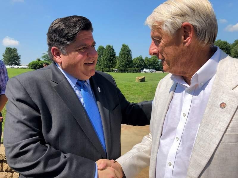 Herrin Mayor Steve Frattini, right, was one of several area leaders to greet Gov. J.B. Pritzker at Walker's Bluff.