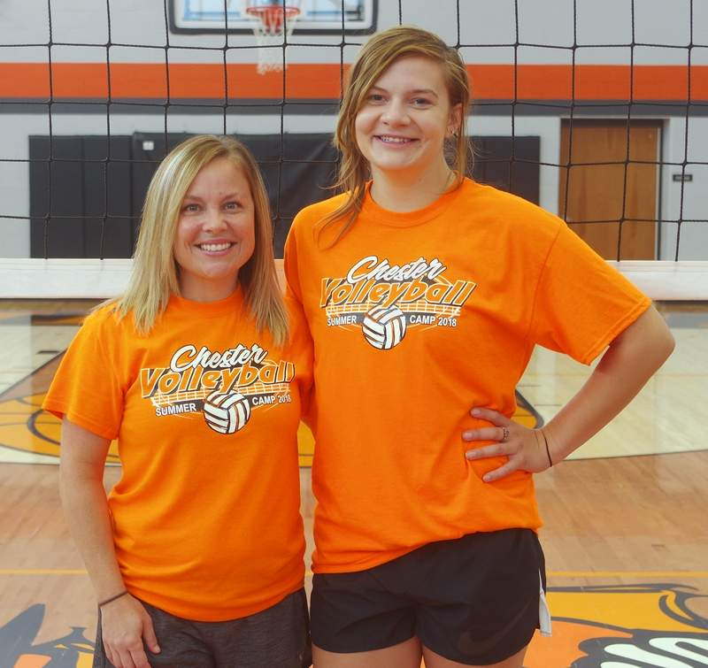 Chester High School volleyball coaches Sarah Norman, left, and Sophia Stellhorn-Durbin.
