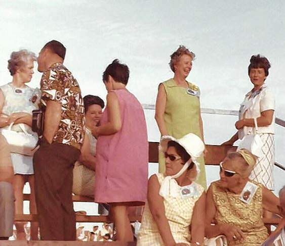 Mike Trude's mom, Carolyn Trude upper right, her mom, Louise Shearon is next to her, with Carolyn's sister Nancy Thiessen sitting behind the woman in the pink dress at Cape Kennedy in Florida awaiting the launch of Apollo 11.