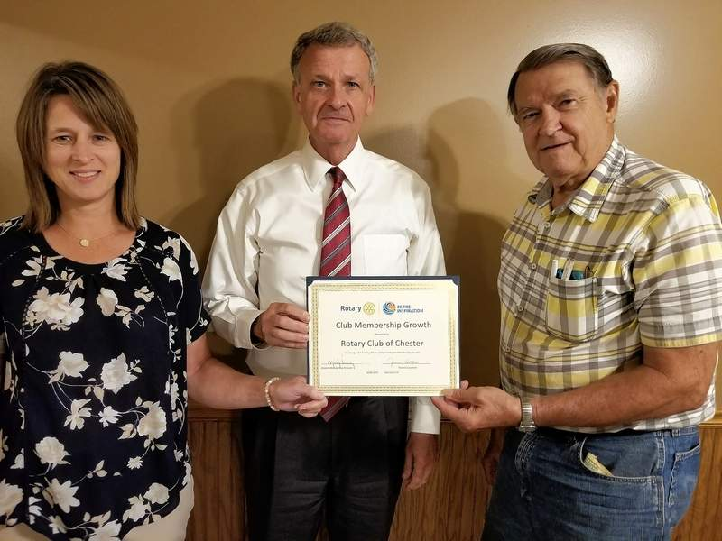 From left, Chester Rotary Secretary Tonya Cowan, Treasurer Bob Gross and Assistant Governor Joe Tanner, of Steeleville.
