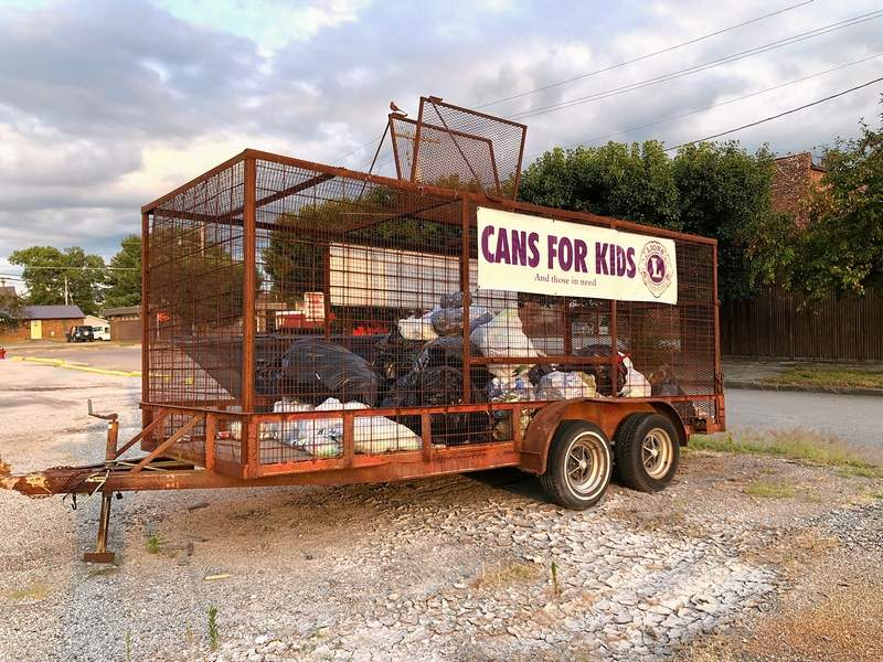 This aluminum can collection center in the form of a large open trailer located in a parking lot immediately southeast and adjacent to the Christopher City Hall Civic Center, located at 210 N. Thomas St., has been placed there by the Christopher Lions Club as a unique way of fundraising to help support the many civic activities they support. The cans are recycled when the trailer is full.