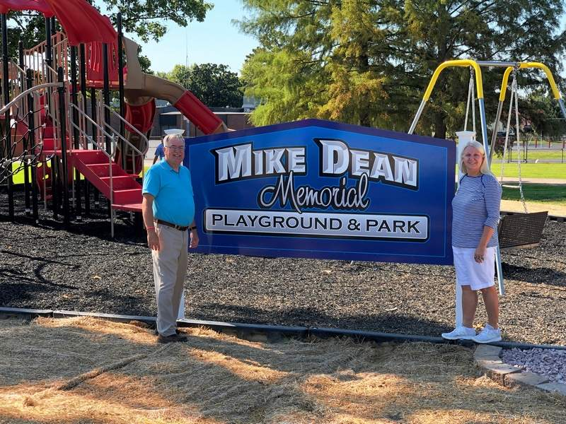 Jimmy, left, and Donette Dean raised nearly $32,000 for the park that will bear their son's name.