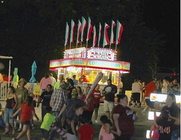 The lights of the carnival midway.