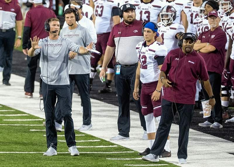 SIU head football coach Nick Hill, shown here working the sidelines, spoke about the Salukis' opponent Saturday, South Dakota State, at his Monday news conference.
