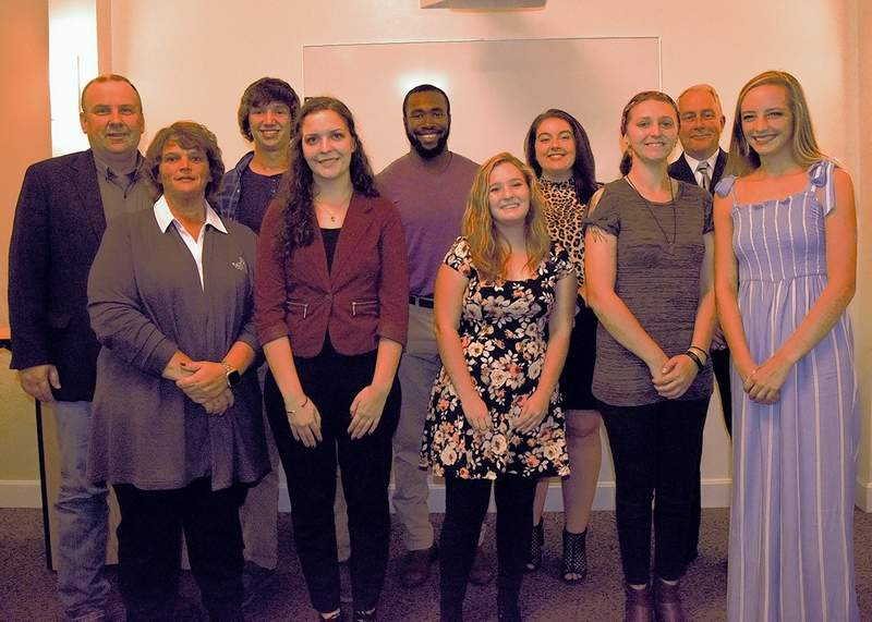 Seven criminal justice students were on hand at the 2019 Roundup for Scholarships event. From left are RLC President Terry Wilkerson, RLC Dean of Applied Science and Tech Gabriele Farner, Preston Launius (Sesser), Sarah Issler (Pinckneyille), Brandon Davis (Shelbyville, Ky.), Toni Frayser (Whittington), Lyndsey Stevens (Coulterville), Melannie Mann (West Frankfort), RLC Criminal Justice Associate Professor Ron Meek and Kelsi Ham (Opdyke).