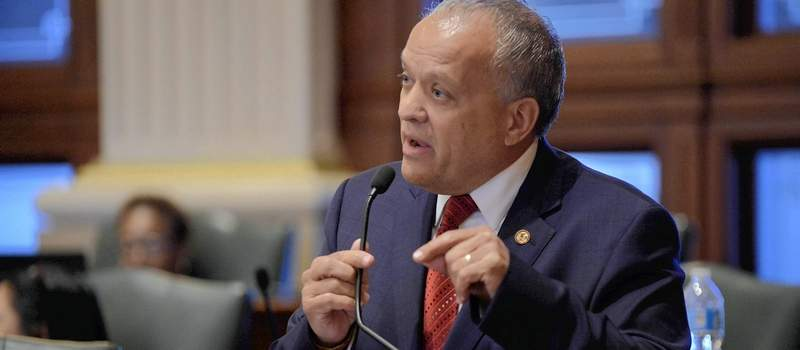 Rep. Luis Arroyo, D-Chicago, shown here in this file photo, faces a federal bribery charge after his arrest Oct. 25, Arroyo, 65, resigned Friday hours before legislative disciplinary proceedings were scheduled to begin in Chicago.