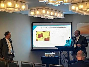 Rend Lake College President Terry Wilkerson, left, and Southeastern Illinois College President Dr. Jonah Rice, right, present at the annual Association of Community College Trustees (ACCT) Leadership Congress in San Francisco. The pair presented a panel on the power of cooperation between community colleges.