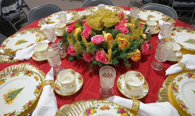 One of the exquisitely decorated tables for Marion Third Baptist Church's annual Women's Ministry event entitled A Christmas Extravaganza.