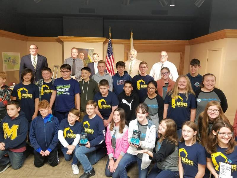 Members of four statebound robotics teams from Marion Junior High School jammed into City Council chambers at Marion City Hall on Monday night. Each of the members introduced themselves to Mayor Mike Absher and commissioners Jim Webb, John Stoecklin, John M. Barwick Jr. and Doug Patton. The teams, The Big Brains, Robo Rebels, Fire Crackers and rookie Team Unknown, are bound for Champaign-Urbana in January after winning at the Mount Vernon qualifier on Saturday.