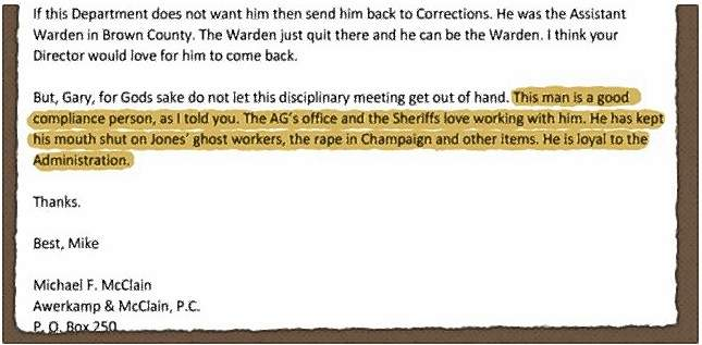 """This email, obtained by Chicago radio station WBEZ, from former ComEd lobbyist Michael McClain to members of then-Gov. Pat Quinn's staff references a possible cover-up of rape and other criminal activity. McClain -- a close confidant of Illinois Democratic House Speaker Michael Madigan -- """"sought leniency"""" for a state worker facing disciplinary action, calling the employee """"a good compliance person,"""" WBEZ reported Tuesday."""