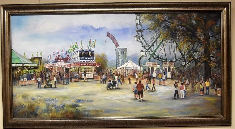 """""""Fair"""" is a painting by Brenda Fleming on display at Harrisburg District Library."""