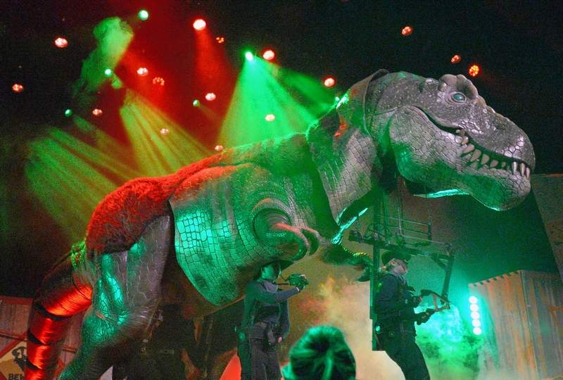 The sights and sounds of the Dinosaur World Live show at the Marion Cultural & Civic Center was impressive to the sellout crowd last Thursday.
