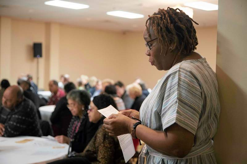 Elva Prince of Marion, along with the audience and other selected individuals, joined together for a responsive reading on Rev. Dr. Martin Luther King Jr.'s famous speech.
