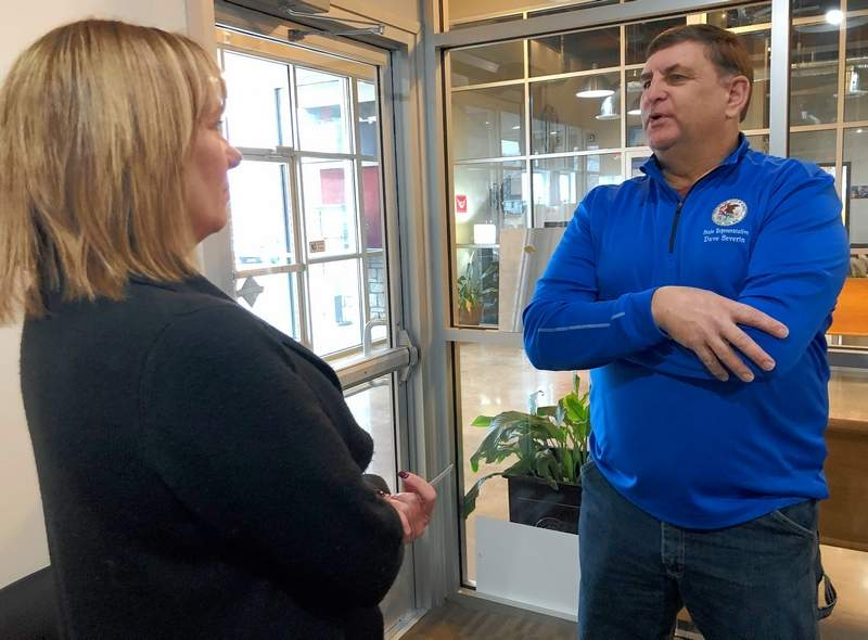 Stefanie Anderson, Senior Vice President and General Manager of Southern Illinois LOCAL Media Group discusses the Backpacks for Buddies program with Dave Severin (R-Benton).