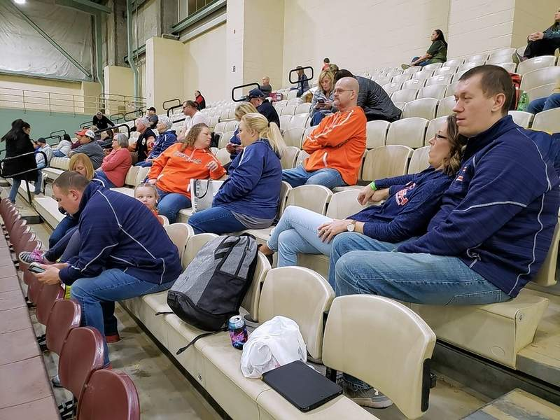 Parents of the 14-under Crush team from Louisville, Kentucky, wait patiently for their kids to get started. The Crush has been playing in the Ice Breaker Tournament for years, the parents said.