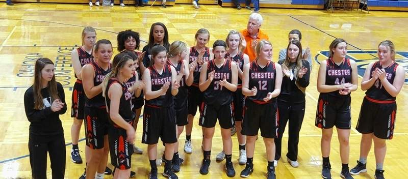 Disappointed by the loss to Freeburg, the Lady Indians nevertheless stop to applaud their fans who loyally came to watch the Columbia regionals and who have supported the team all season.