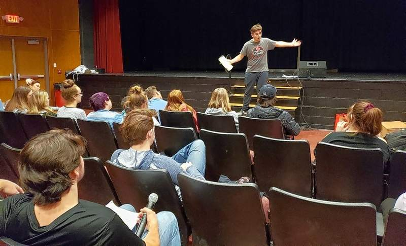 A.J. Rice giving the cast notes at the end of Friday's rehearsal.