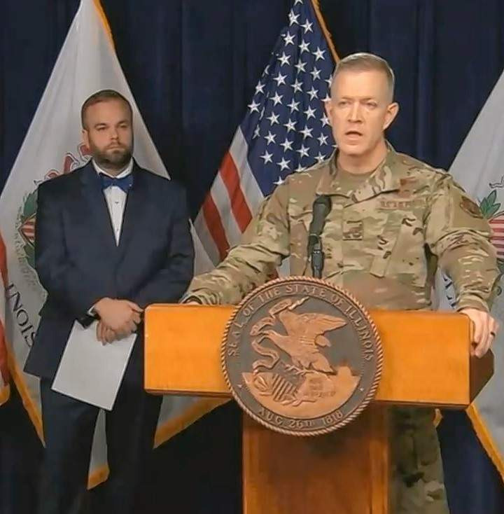 Brig. Gen. Richard Neely, adjutant general of the Illinois National Guard, discusses the Guard's role in the state's response to the coronavirus outbreak, Monday in Chicago.