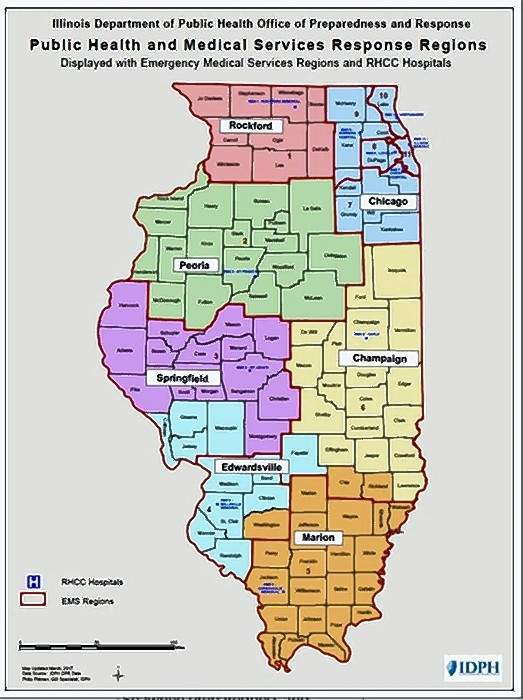 The graphic depicts Illinois' public health and medical service response regions.