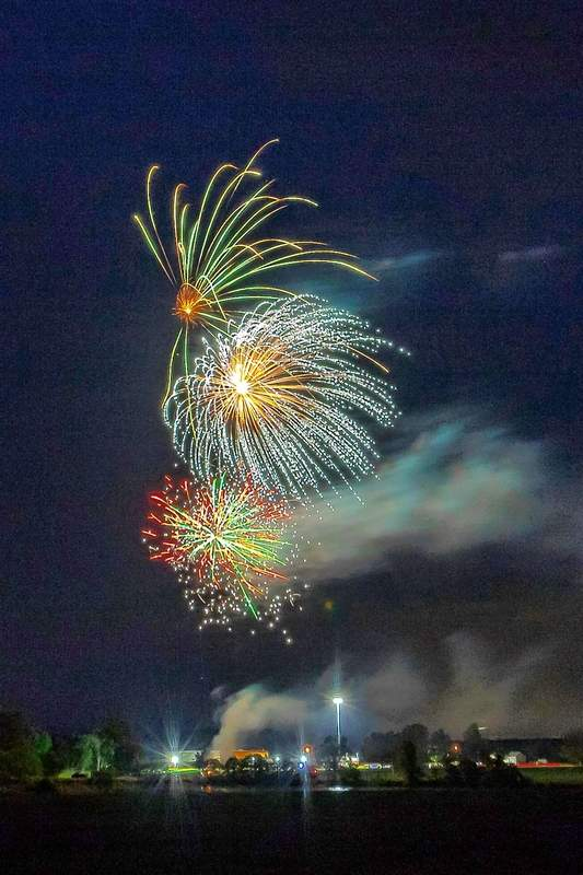 Fireworks are shot over the Du Quoin State Fairgrounds last year.