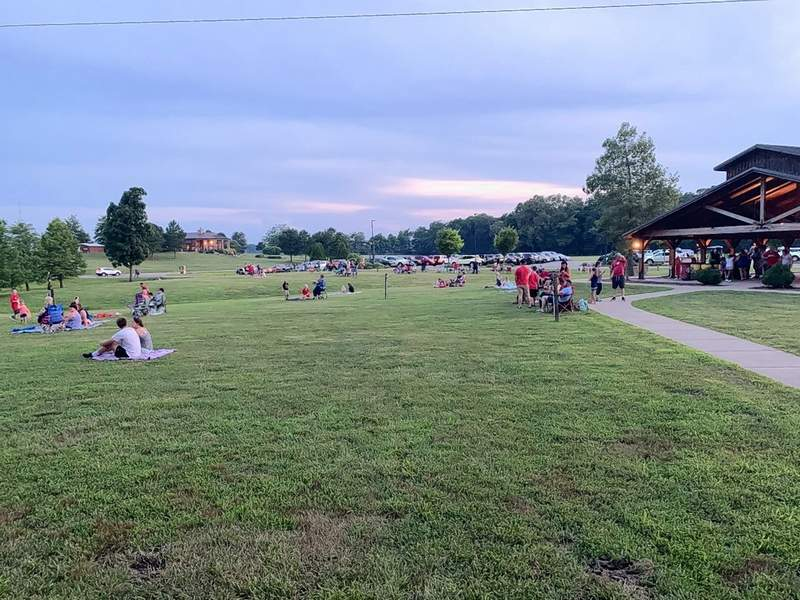 The grounds at Walker's Bluff provided easy social distancing to the guests who came to watch the fireworks show on Friday evening.